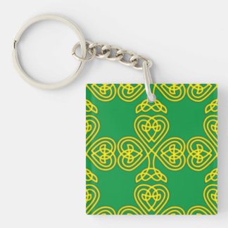 Golden Shamrock Single-Sided Square Acrylic Key Ring