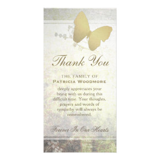 Golden Shimmer Butterfly Thank You Sympathy Card Personalized Photo Card
