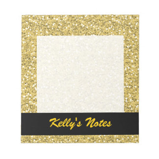 Golden Shimmer Glitter Notepad