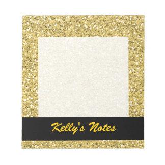 Golden Shimmer Glitter Notepads