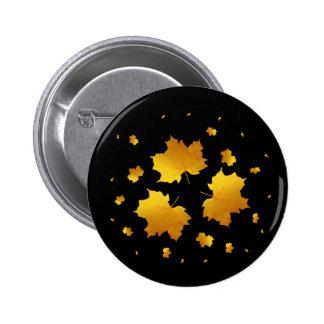 Golden Shimmer Maple Leaf 2 Inch Round Button