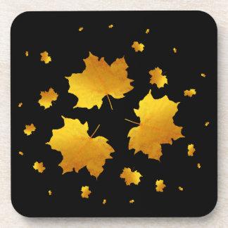 Golden Shimmer Maple Leaf Beverage Coaster