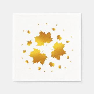 Golden Shimmer Maple Leaf Disposable Serviette