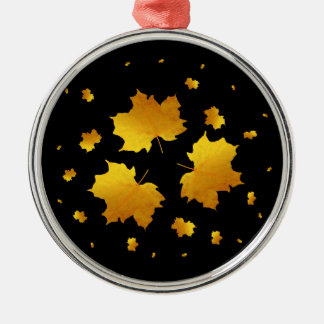 Golden Shimmer Maple Leaf Silver-Colored Round Decoration