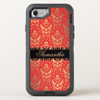 Golden Shimmer Red and Black Victorian Damask OtterBox Defender iPhone 8/7 Case