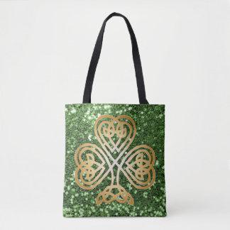 Golden Shining Celtic Shamrock Green Faux Glitter Tote Bag