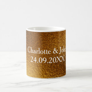 Golden Shiny Save The Date Frosted Glass Mug Gift