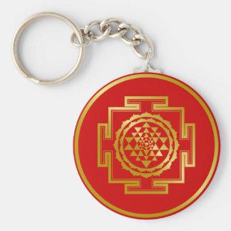 Golden Shree Yantra Basic Round Button Key Ring