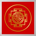 Golden Shree Yantra Print