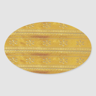 Golden Silk Fabric Template DIY add GREETING PHOTO Oval Sticker