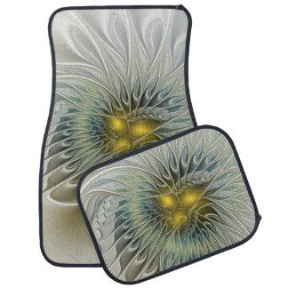 Golden Silver Flower Fantasy abstract Fractal Art Car Mat