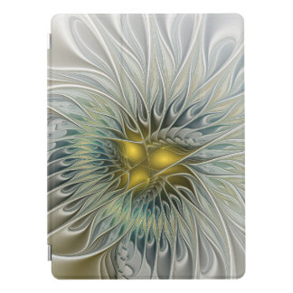 Golden Silver Flower Fantasy abstract Fractal Art iPad Pro Cover