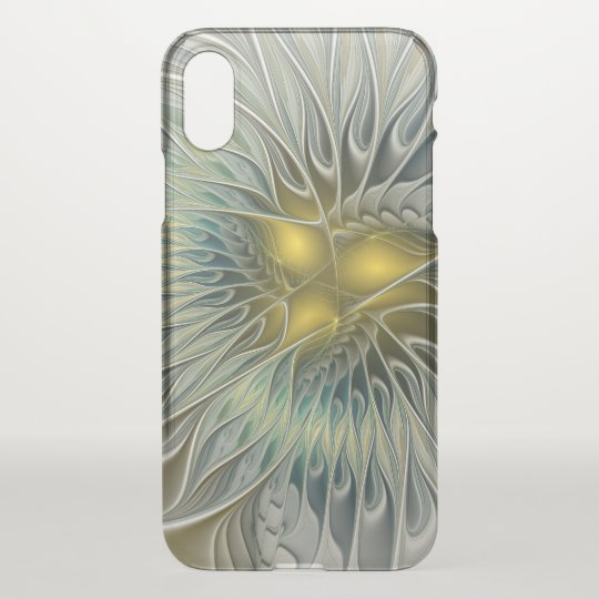 Golden Silver Flower Fantasy abstract Fractal Art iPhone X Case