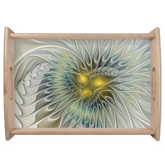 Golden Silver Flower Fantasy abstract Fractal Art Serving Tray