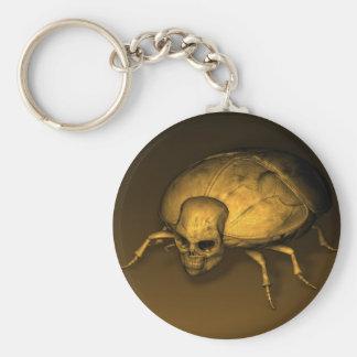 Golden Skull Bug Basic Round Button Key Ring