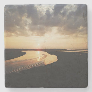 Golden Sky Aerial Photo Stone Coaster