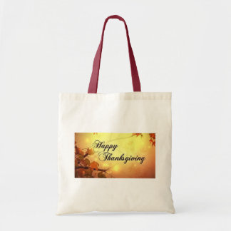 Golden Sky and Leaves Happy Thanksgiving Budget Tote Bag