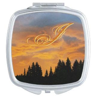 Golden Sky Sunrise Monogram Mirror For Makeup