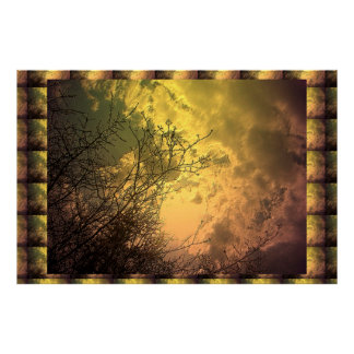 Golden Sky : Tree Branches Transformation Posters