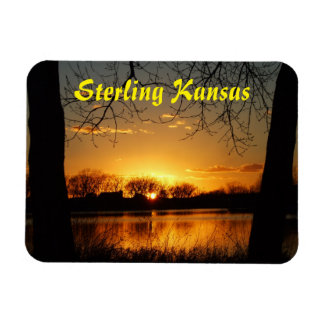 Golden Sky with water Reflection Square Magnet!! Rectangular Photo Magnet
