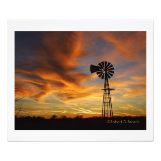 Golden Sky with Windmill Silhouette Photographic Print