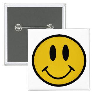 Golden smiley face 15 cm square badge