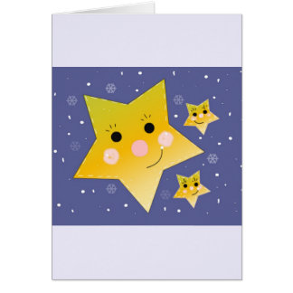 Golden Smiley Stars on a Blue Sky Background Greeting Card