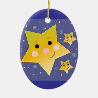 Golden Smiley Stars on a Blue Sky Background Ceramic Oval Decoration