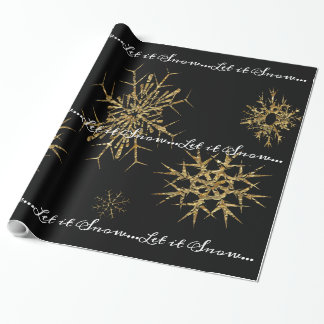 Golden Snow Treasures Christmas Night Wrapping Paper