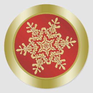Golden Snowflake on red Christmas Round Sticker