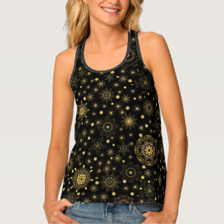 Golden Snowflake Pattern All-Over Print Tank Top