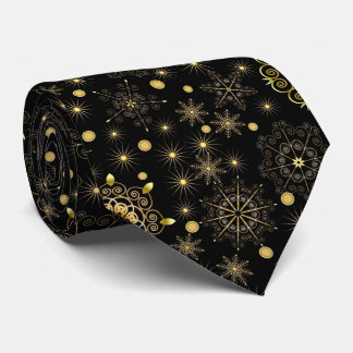 Golden Snowflake Pattern Tie
