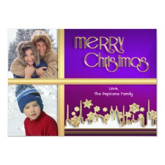 Golden Snowflake Purple Cityscape Photo Xmas Card