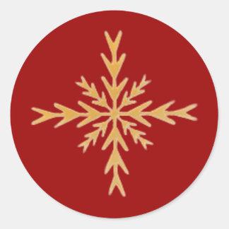Golden Snowflake Round Sticker