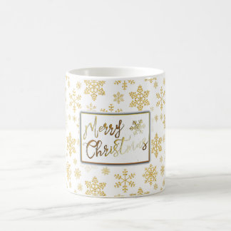 Golden Snowflakes Christmas Mug