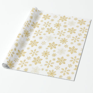 Golden Snowflakes Christmas Wrapping Paper