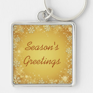 Golden Snowflakes Happy Holidays Keychain