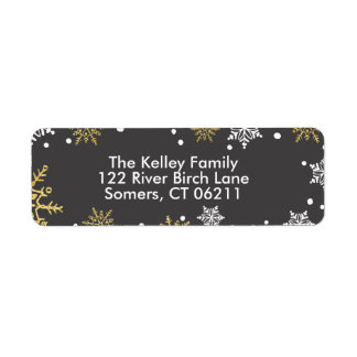 Golden Snowflakes Holiday Address Return Address Label