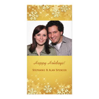 Golden Snowflakes Holiday Photo Cards