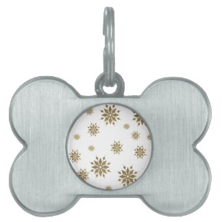 Golden snowflakes pet ID tag