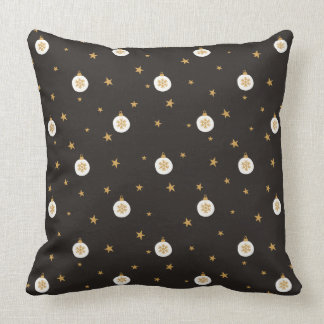 Golden snowflakes stars ornaments - Christmas Throw Pillow