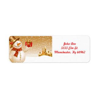 Golden Snowman return address labels