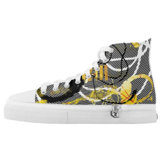 Golden Sounds Zips High Top Boots Printed Shoes