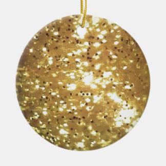 golden sparkle round ceramic decoration