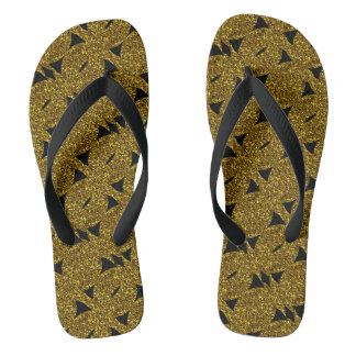 Golden sparkly abstract pattern thongs