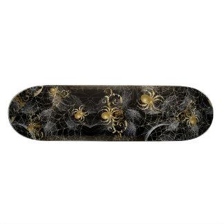 Golden Spiders Spider Web Skateboard