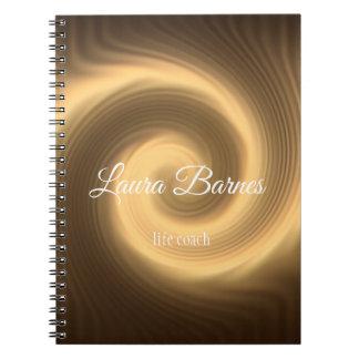 Golden spiral texture. Text. Notebook