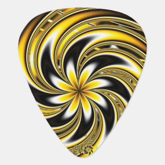 Golden Spiraling Flower Guitar Pick