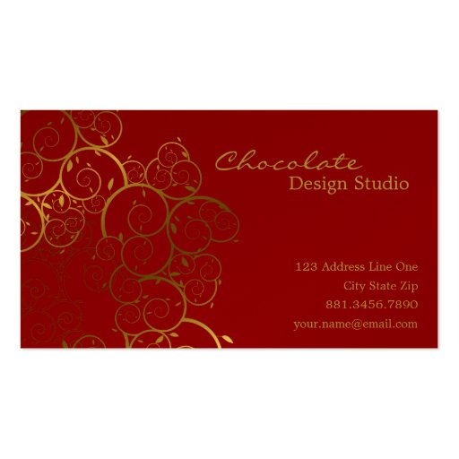 Golden Spirals Leaves Ornamental Deco Vintage Chic Business Card