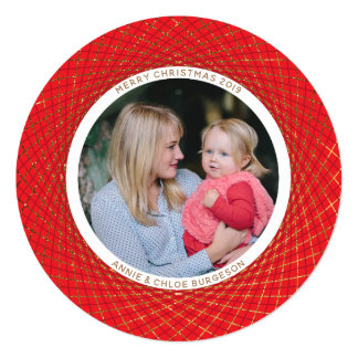 Golden Spirograph Round Red Christmas Holiday Card